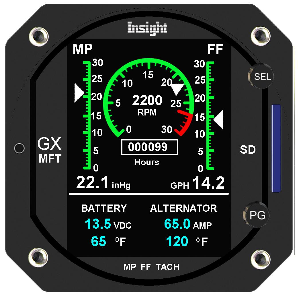 Piper flyer association product reviews company profiles august 2014 the new insight avionics gx mft offers three engine function displays in one easy to read three inch led instrument fandeluxe Image collections