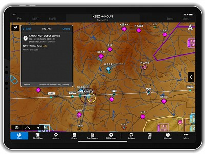 Garmin Pilot adds Graphical Weather Briefings and NAVAID NOTAMs